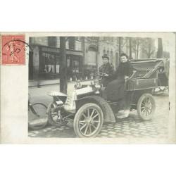 PARIS 17. Belle voiture ancienne devant Brasier Av de la Grande Armée vers 1906