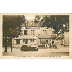 45 FAY-AUX-LOGES. Hôtel de la Poste Place des Marronniers 1950 voiture ancienne