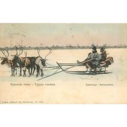 TYPES RUSSES. Samoyèdes 1909 traineau tiré par des Rennes