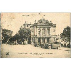 carte postale ancienne 63 CHATEL-GUYON. Casino Avenue Baraduc 1923 Voitures et Camion anciens