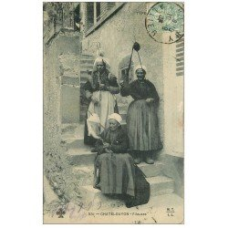 carte postale ancienne 63 CHATEL-GUYON. Fileuses à Rouet 1905