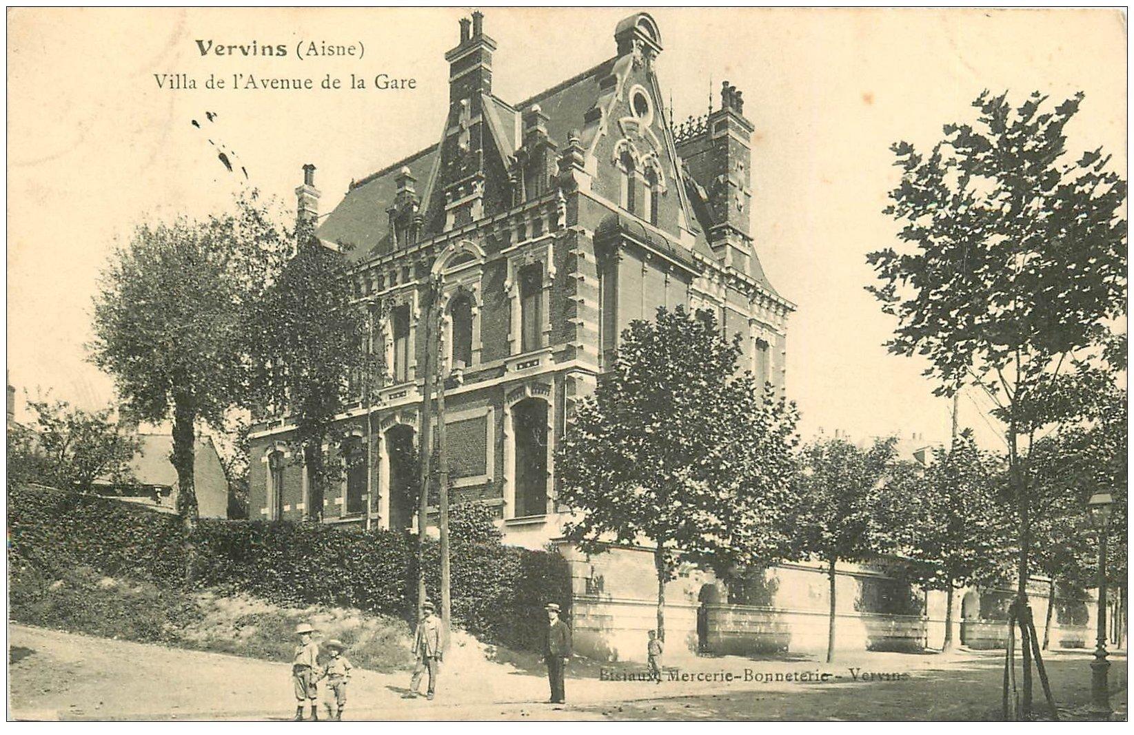 carte postale ancienne 02 VERVINS. Villa de l'Avenue de la Gare 1906