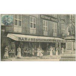 carte postale ancienne 63 CLERMONT-FERRAND. Bar Restaurant français Place Jaude vers 1907
