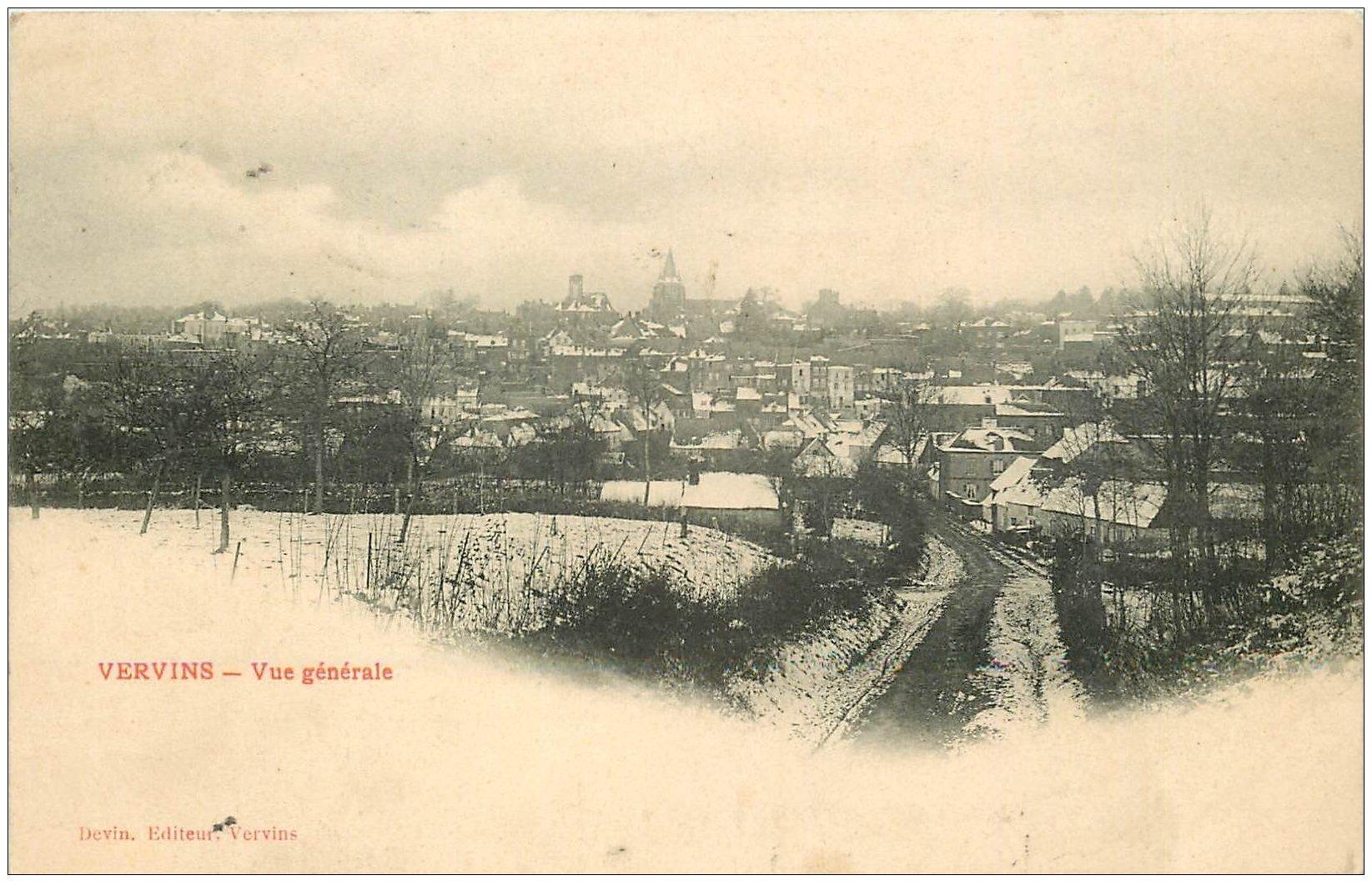 carte postale ancienne 02 VERVINS. Vue générale 1908