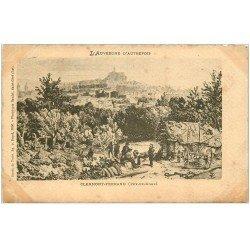 carte postale ancienne 63 CLERMONT-FERRAND. L'Auvergne d'Autrefois. Papier Velin découpe à la ficelle