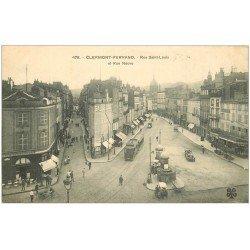 carte postale ancienne 63 CLERMONT-FERRAND. Rues Saint-Louis et Neuve