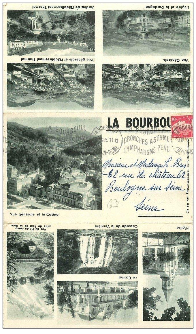carte postale ancienne 63 LA BOURBOULE. Carte lettre dépliant triple 1955