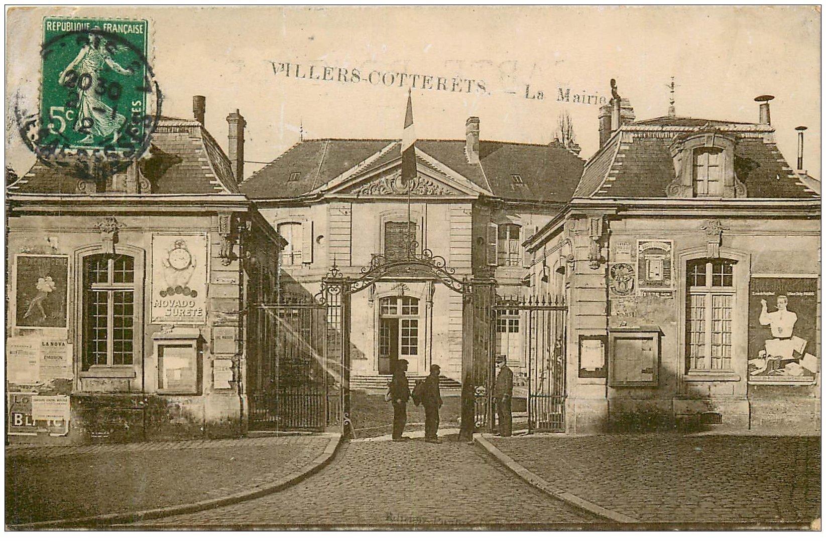 carte postale ancienne 02 VILLERS-COTTERETS. La Mairie 1912