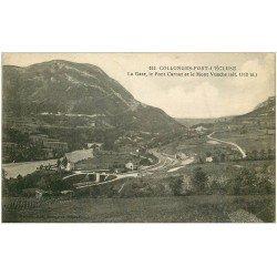 carte postale ancienne 01 Collonges-Fort-l'Ecluse. Gare, Pont Carnot et Mont Vuache 1921