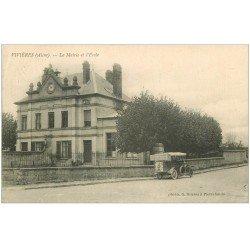 carte postale ancienne 02 VIVIERES. Mairie et Ecole 1917. Voiturette Photographie Duclos