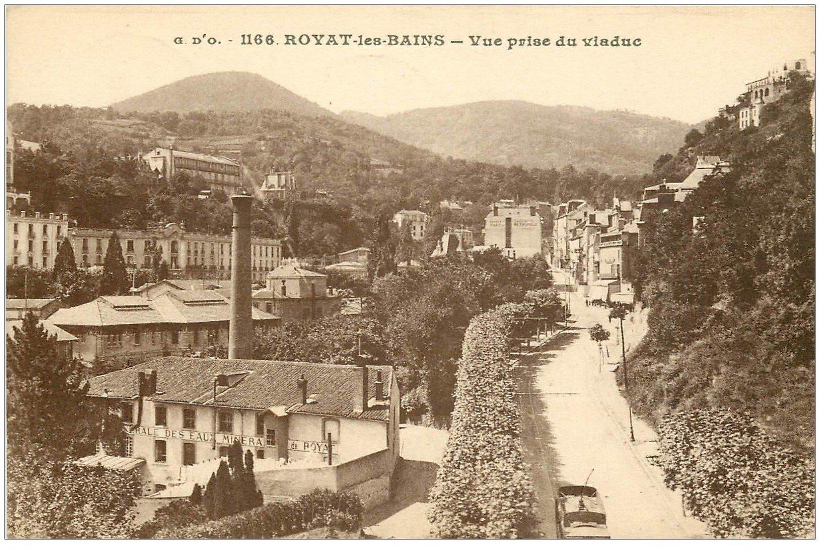 63 ROYAT Lot 10 Cpa. Usine Eaux Minérales, Monument Morts, Place Allard, Grand Hôtel, Eglise et Fontaine, Paradis...