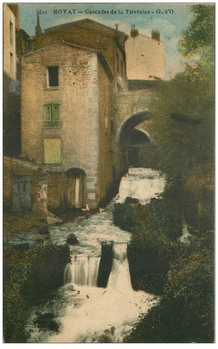 carte postale ancienne 63 ROYAT. Cascade de la Tiretaine 1917