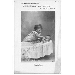"""carte postale ancienne 63 ROYAT. L'Enfant Espiègle. Chocolat Rouzaud """""""" Marquise de Sévigné """""""" (dans l'état)"""