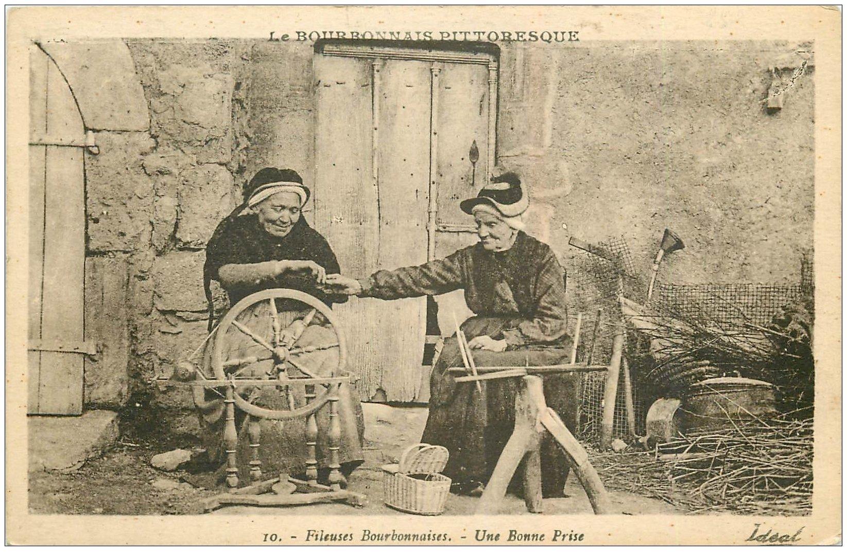 carte postale ancienne 03 FILEUSES BOURBONNAISES. Une bonne Prise