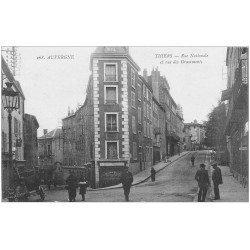 carte postale ancienne 63 THIERS. Rues Nationale et des Grammonts 1918