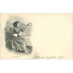 carte postale ancienne 63 THIERS. Une Fileuse 1901