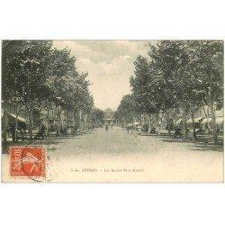 carte postale ancienne 34 BEZIERS. Allées Riquet 1912