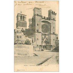 carte postale ancienne 34 BEZIERS. Cathédrale Parvis 1906