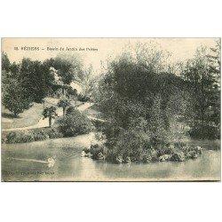 carte postale ancienne 34 BEZIERS. Jardin Poètes Cygne