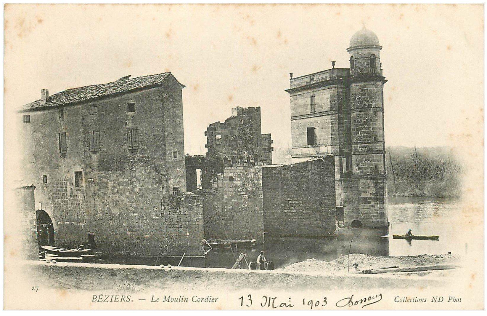 carte postale ancienne 34 BEZIERS. Moulin Cordier 1903