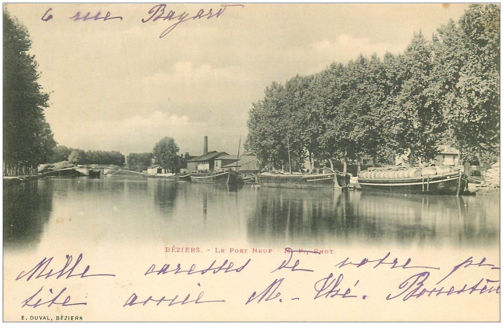 carte postale ancienne 34 BEZIERS. Péniches dans le Port Neuf 1902