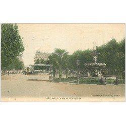 carte postale ancienne 34 BEZIERS. Place et Kiosque Citadelle 1906