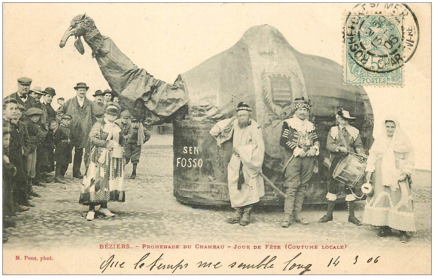 carte postale ancienne 34 BEZIERS. Promenade du Chameau Jour de Fête. Timbre Taxe 1906