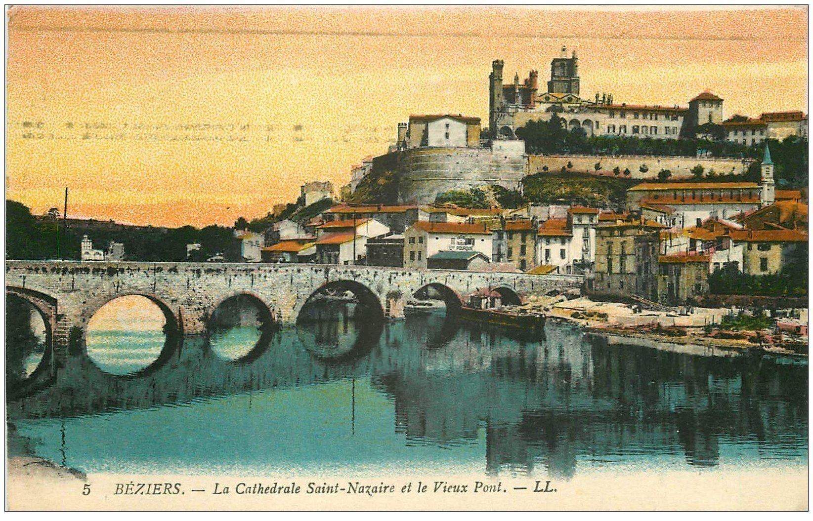 carte postale ancienne 34 BEZIERS. Vieux Pont