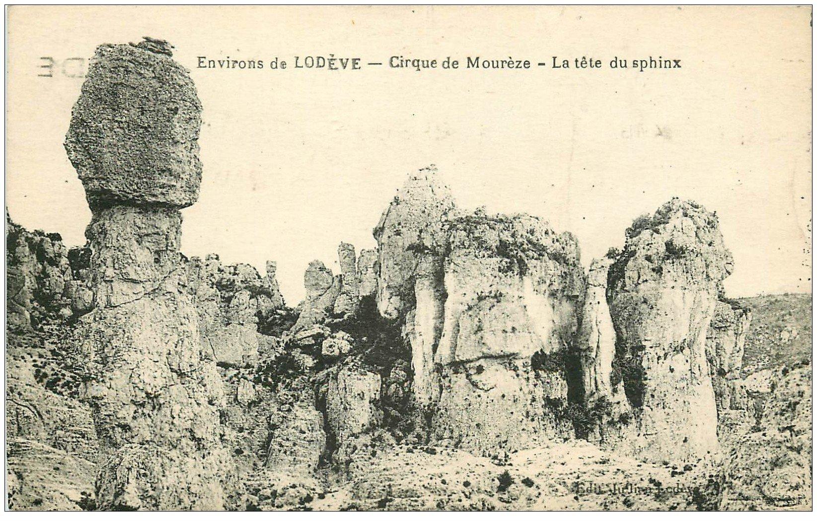 carte postale ancienne 34 CIRQUE DE MOUREZE. Tête du Sphynx 1932