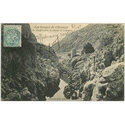 carte postale ancienne 34 CLAMOUSE. Gouffre noir en amont 1907. Pour Comtesse de Ferdy à Marseille