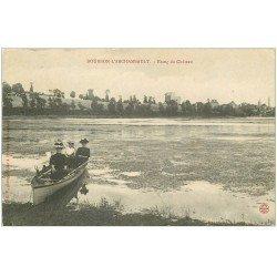 carte postale ancienne 03 BOURBON L'ARCHAMBAULT. Etang du Château ballade en barque
