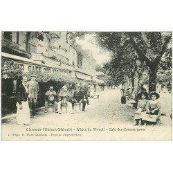 carte postale ancienne 34 CLERMONT-L'HERAULT. Café des Commerçants Négociants Allées Thivoli