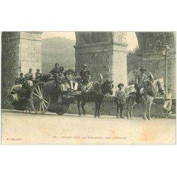 carte postale ancienne 34 LAMALOU. Départ pour les Vendanges 1908