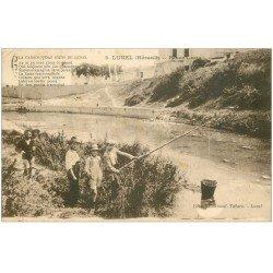 carte postale ancienne 34 LUNEL. Pêcheurs d'Ecrevisses Pesca Luna 1929