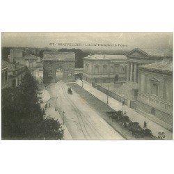 carte postale ancienne 34 MONTPELLIER. Arc de Triomphe et le Peyrou sous la neige