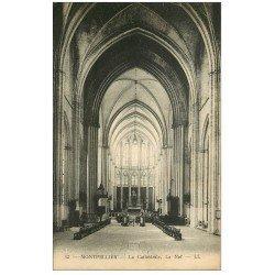carte postale ancienne 34 MONTPELLIER. Cathédrale Nef
