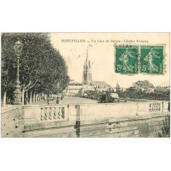 carte postale ancienne 34 MONTPELLIER. Clocher Saint-Anne Coin du Peyrou 1915