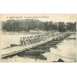 carte postale ancienne 34 MONTPELLIER. Manoeuvre de Pontage du 2° Génie 1917
