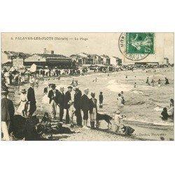 carte postale ancienne 34 PALAVAS-LES-FLOTS. La Plage vers 1913