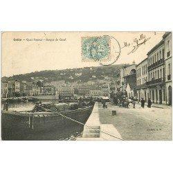carte postale ancienne 34 SETE CETTE. Barque de Canal Quai Pasteur 1907