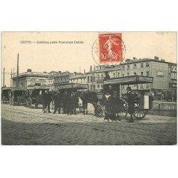 carte postale ancienne 34 SETE CETTE. Célèbres petits Tramways Cettois 1908