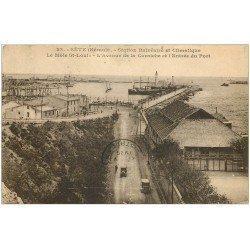 carte postale ancienne 34 SETE CETTE. Môle Saint-Louis Avenue Corniche et Port 1929