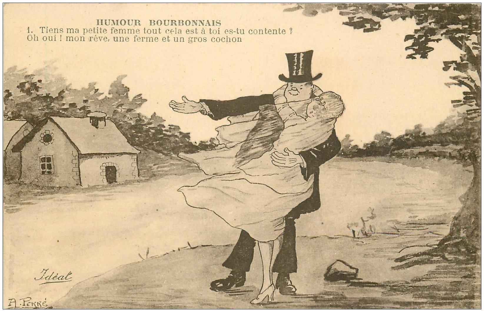 carte postale ancienne 03 BOURBONNAIS. Humour. Ferme et gros Cochon... Mariés
