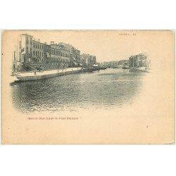 carte postale ancienne 34 SETE CETTE. Quai de Bosv Pont National vers 1900