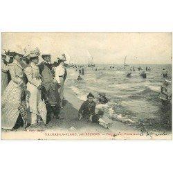 carte postale ancienne 34 VALRAS-LA-PLAGE. Baigneurs et Promeneurs 1909