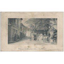 carte postale ancienne 34 VILLENEUNE-LES-BEZIERS. Place du Marché 1912 ( gros défaut )...