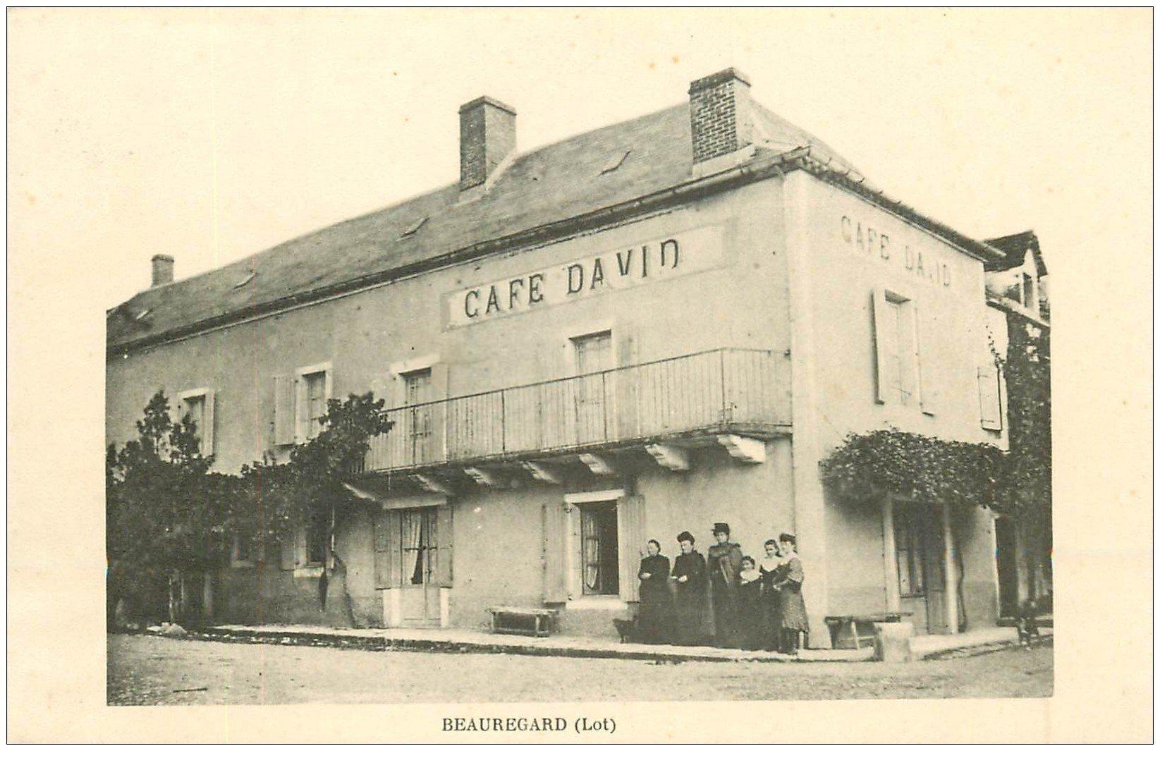 carte postale ancienne 46 BEAUREGARD. Café David