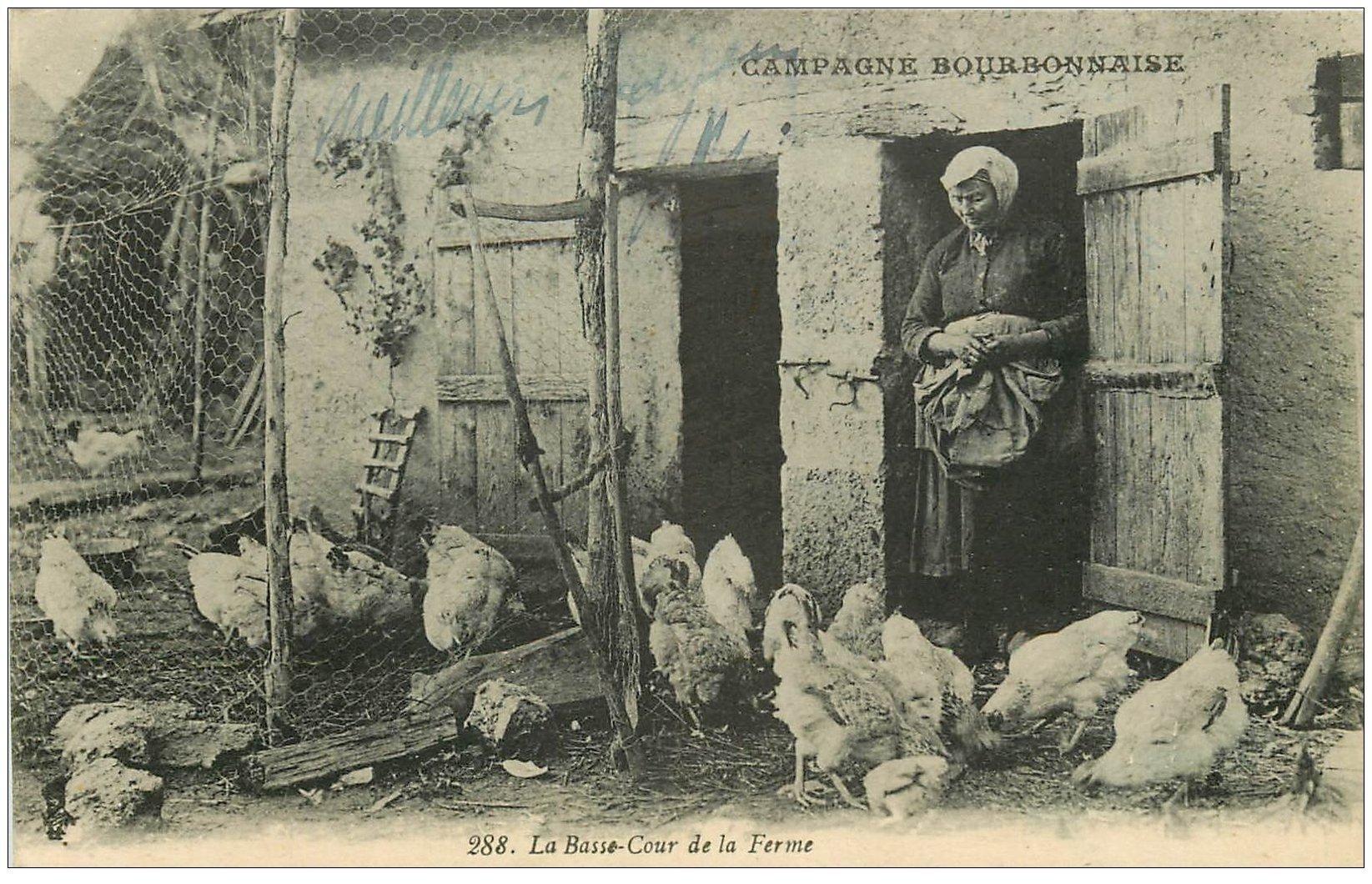 carte postale ancienne 03 BOURBONNAIS. La Basse-Cour de la Ferme 1926