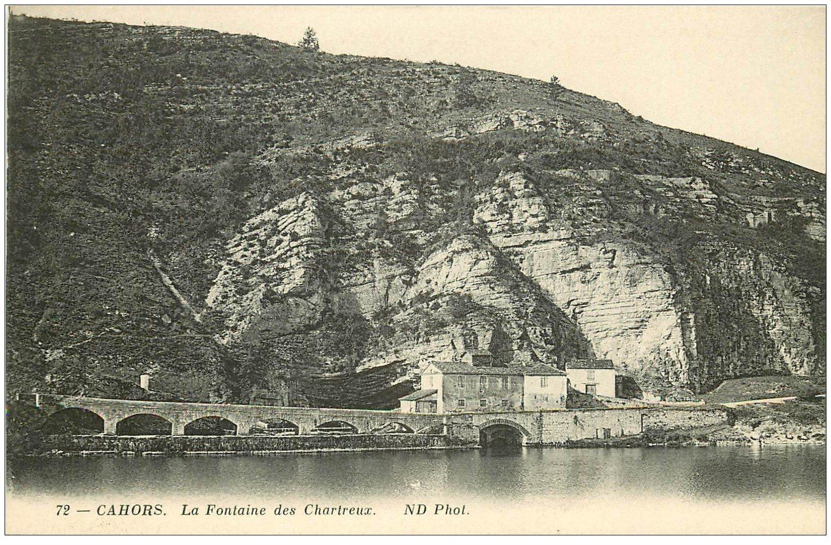 carte postale ancienne 46 CAHORS. Fontaine des Chartreux