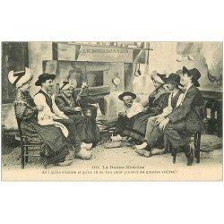 carte postale ancienne 03 BOURBONNAIS. La Bonne Histoire 1929 autour de la Cheminée
